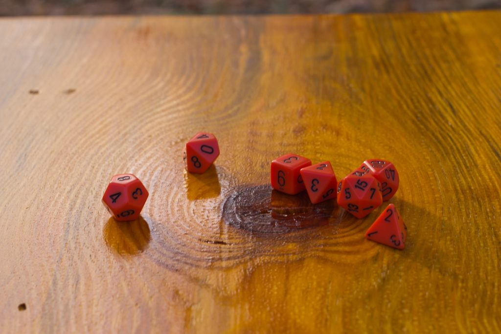 dice on table